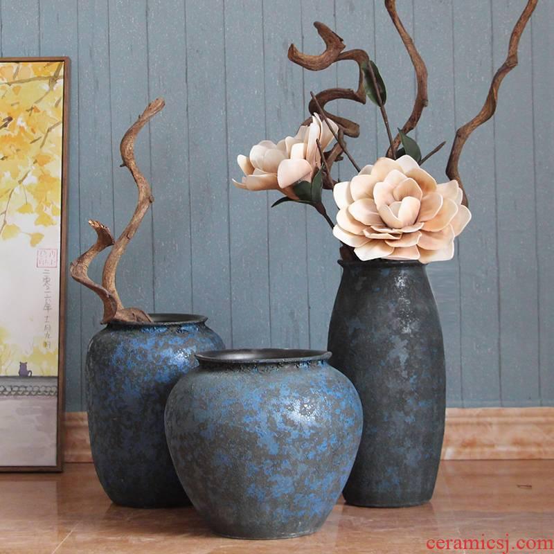 Modern European Mediterranean home furnishing articles porcelain in jingdezhen lava glazed pottery vase three - piece sitting room decoration