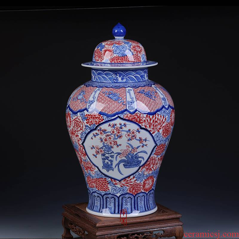 Jingdezhen ceramic vases, antique hand - made porcelain youligong general porcelain pot sitting room home furnishing articles