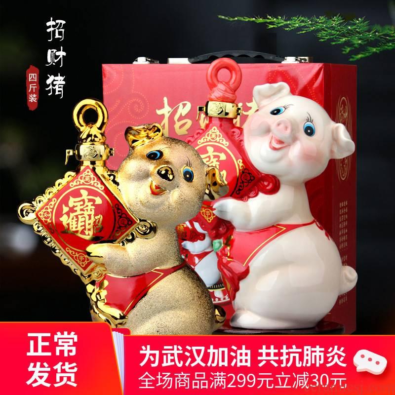 An empty bottle ceramic colored enamel gold - plated silver, golden pig pig 1 catty 2 jins of 3 kg 5 jins of 7 kg sealed household bottle