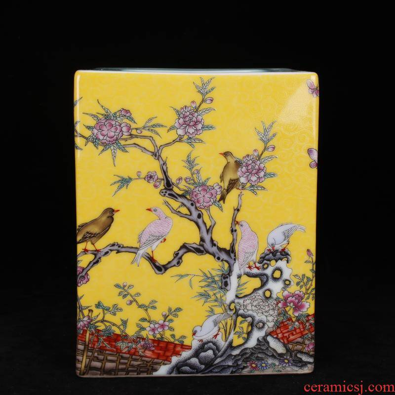 """Archaize of jingdezhen porcelain yongzheng colored enamel painting of flowers and four big brush pot """"four desk pen sea Chinese collection furnishing articles"""