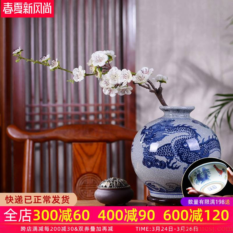 Jingdezhen ceramic vase furnishing articles flower arranging archaize sitting room longteng Chinese style household adornment zen of blue and white porcelain decoration