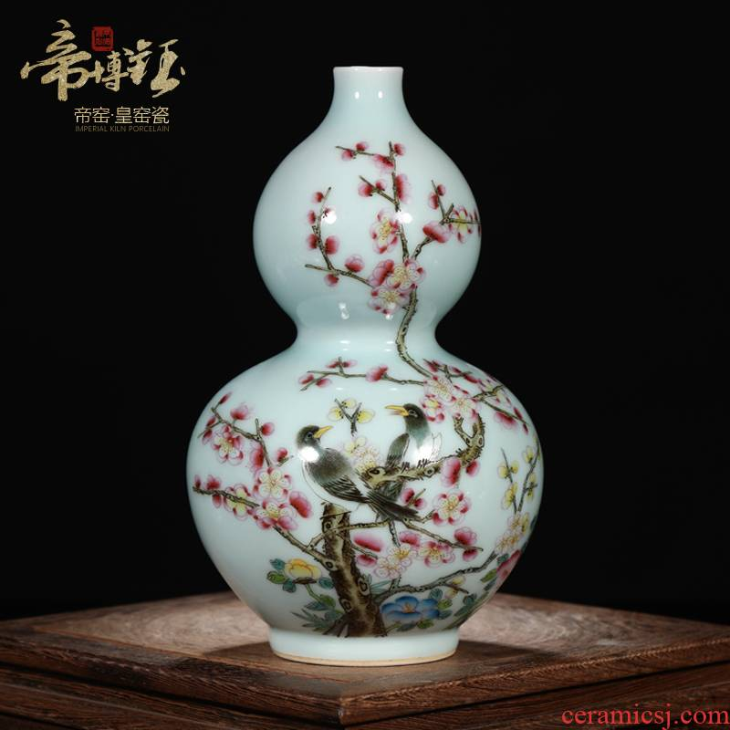 Antique Antique curios jingdezhen pastel hand - made painting of flowers and grain gourd bottle of adornment of the sitting room porch place of the study