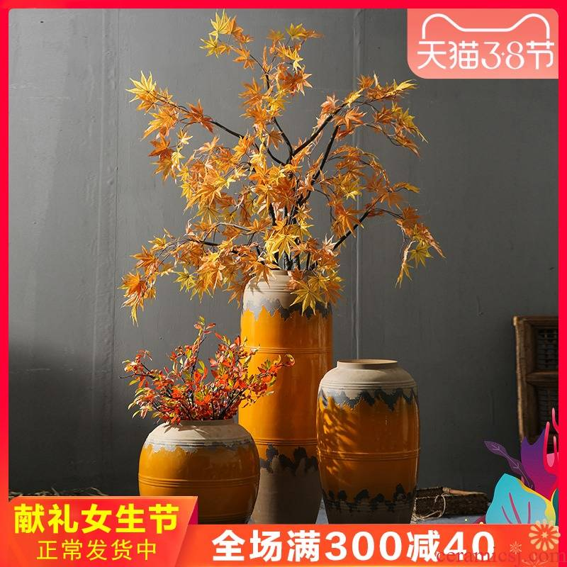 Jingdezhen retro nostalgia vase sitting room, dining - room mall coarse pottery flower flower arranging the be born ceramic decoration