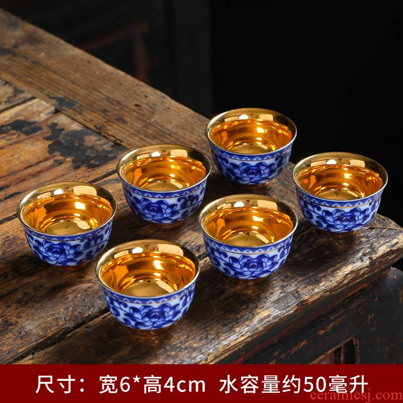Blue and white porcelain ceramic big kung fu tea cups Chinese single cup tea cup archaize personal cup sample tea cup master CPU
