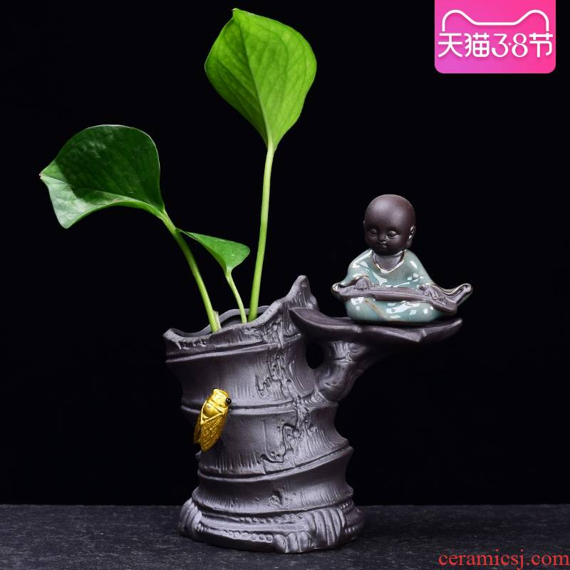 Other creative zen aquatic the plants flower vase flowerpot violet arenaceous nonporous copper wire grass hydroponic container vessels