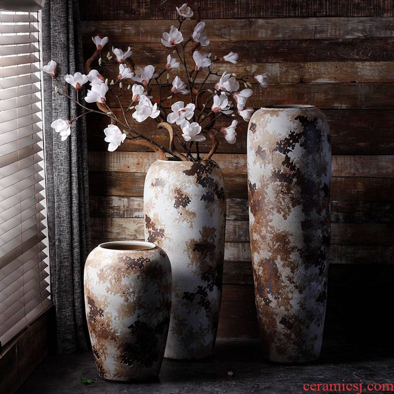Jingdezhen ceramic vase simple retro modern ground vase sitting room garden courtyard hotel furnishing articles arranging flowers