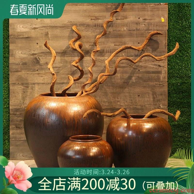 Hotel restaurant decoration ceramic vase tea house sitting room adornment flower arranging flowers, flower implement hall between example furnishing articles