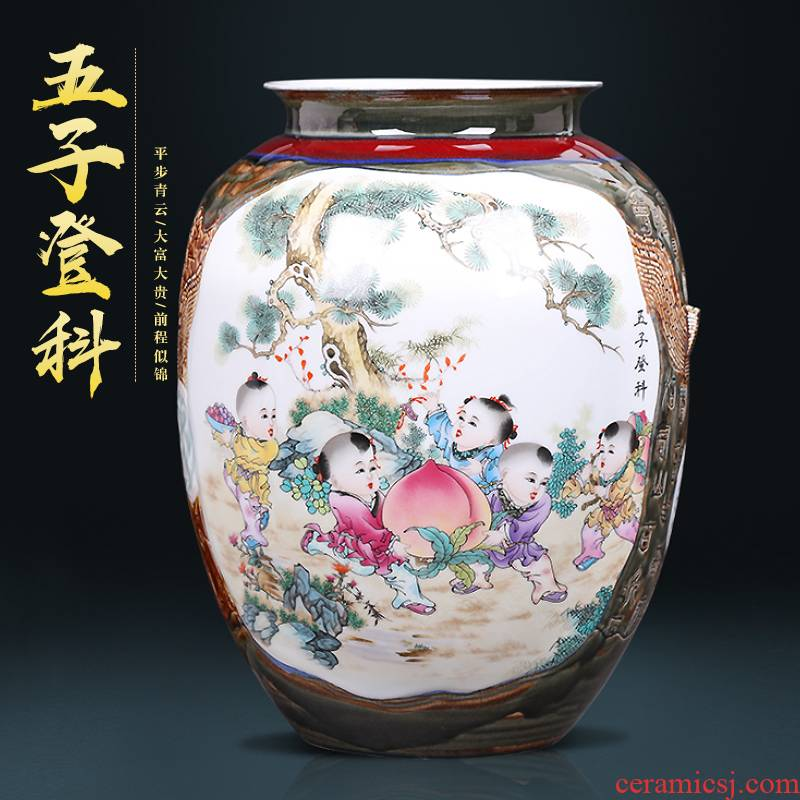 Chinese style manual creative up jingdezhen ceramics painting and calligraphy cylinder vase sitting room porch decoration furnishing articles
