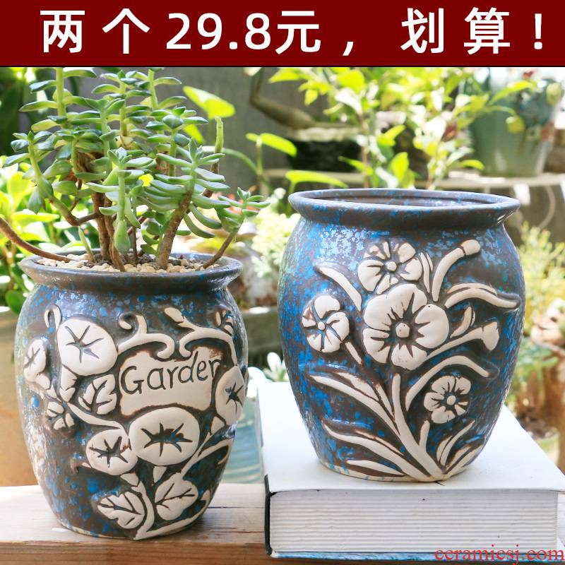 Fleshy flower pot large old running of large diameter zhuang zi special offer a clearance creative contracted crude some ceramic porcelain clay flower POTS