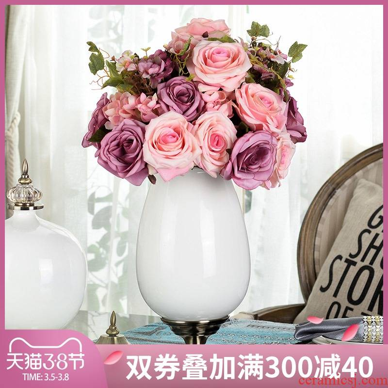 European floral simulation table sitting room place artificial flowers set ceramic vases, flower arranging American household decorations
