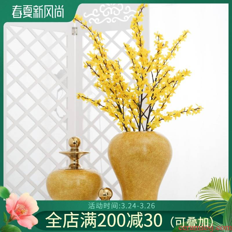 Jingdezhen new Chinese flower arranging example room porch TV ark, household soft adornment ceramic vase furnishing articles sitting room