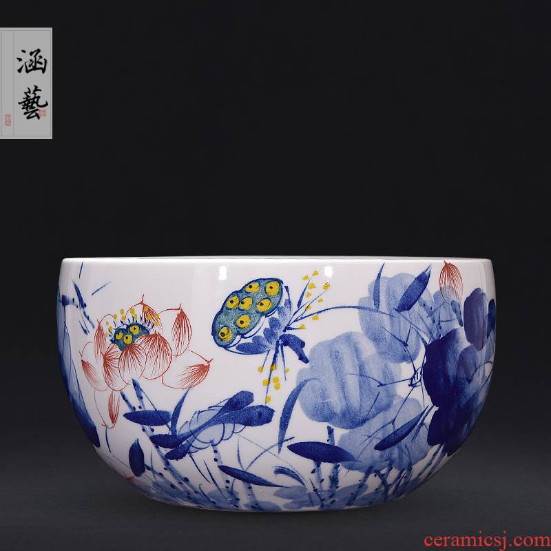 Jingdezhen ceramic hand - made blue harmony aquarium new sitting room porch decoration of Chinese style household furnishing articles