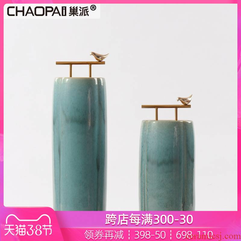 Chinese style porch ceramic pot furnishing articles flower vases, flower implement soft adornment corridor corridor hotel mock up room decoration