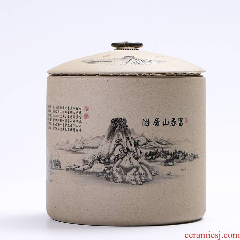 Ya xin company hall of Chinese wind restoring ancient ways caddy fixings large ceramic tassel seal pu 'er moistureproof hide POTS of blue and white