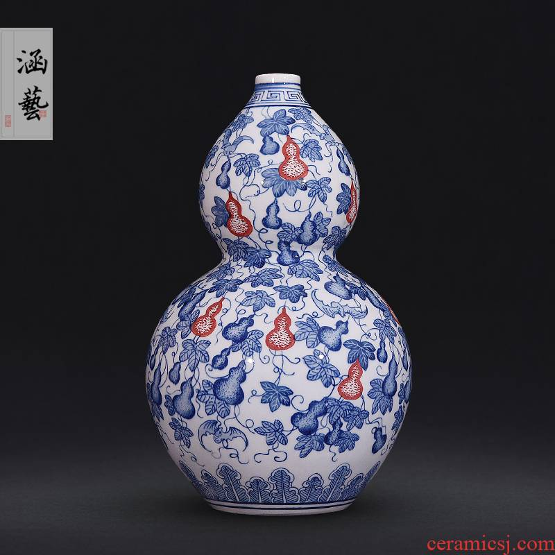 Jingdezhen ceramic blue and white porcelain bottle gourd figure gourd vases, new Chinese style flower arrangement sitting room adornment handicraft furnishing articles