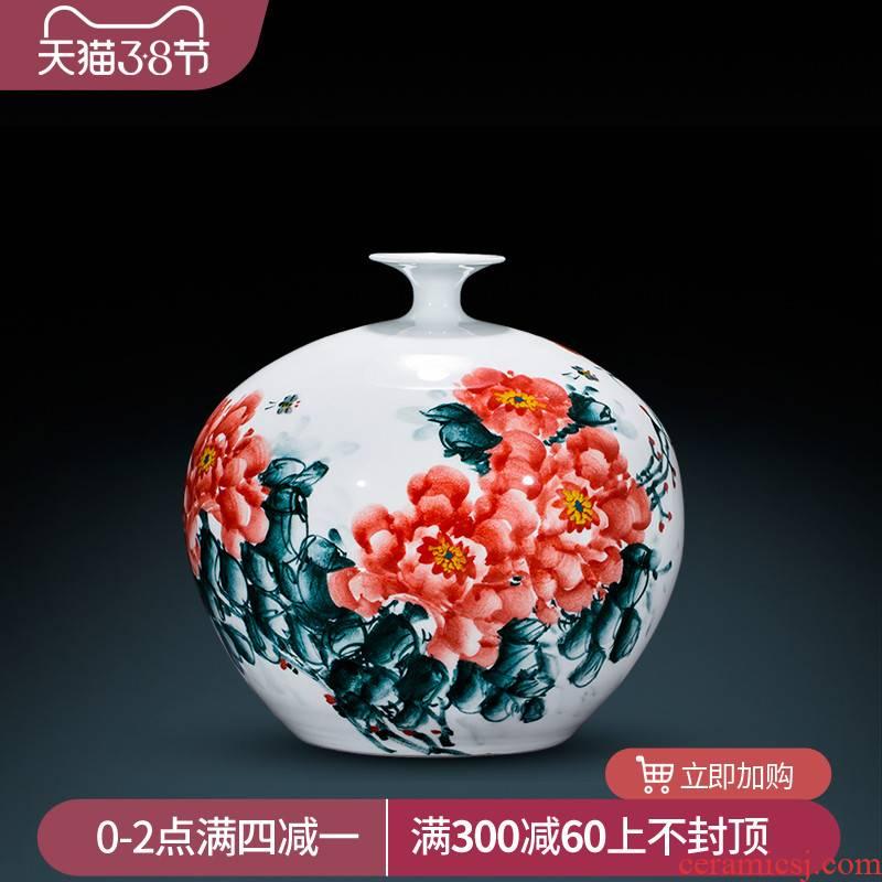 Jingdezhen ceramic vase master Chinese hand - made porcelain of pomegranate sitting room porch home decoration flower arranging furnishing articles