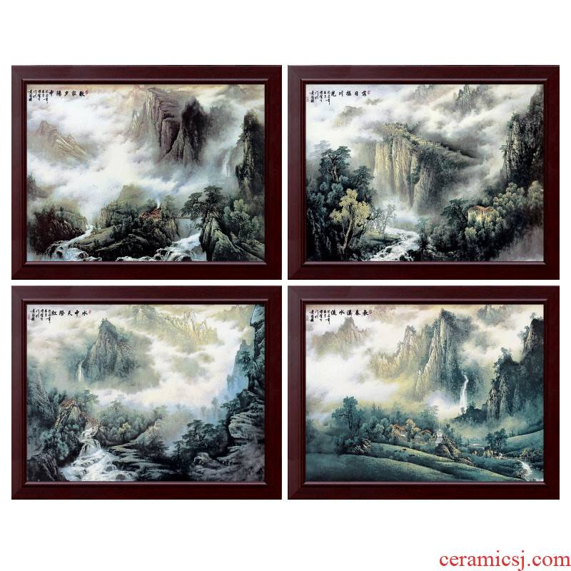 Jingdezhen porcelain four screen plate painting I sitting room sofa setting wall mural decoration hangs a picture teahouse dining - room metope
