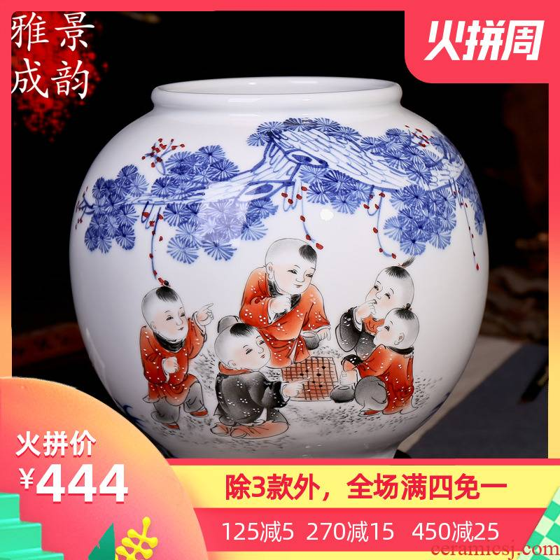 Jingdezhen ceramics hand - made vases vogue to live in the living room decoration baby play figure handicraft furnishing articles