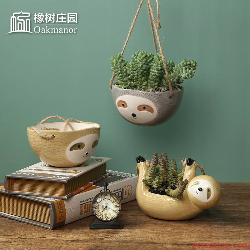 The Nordic idea sloths suspension flowerpot more meat hanging basket is placed on The wall hang wall ceramic flowerpot pendant