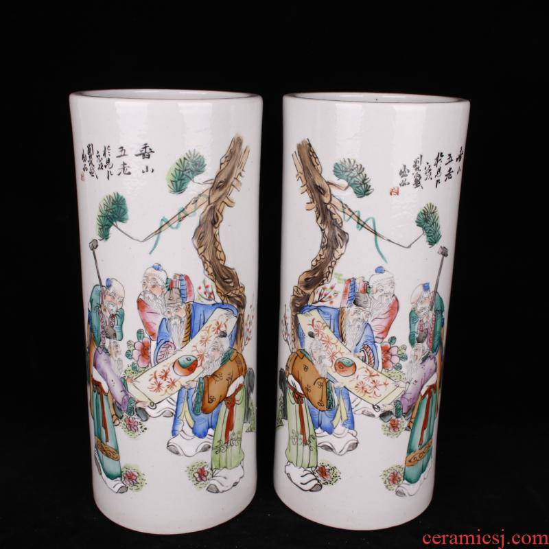 Jingdezhen manual hand - made xiangshan five before the cylinder quiver old folk antiques antiques collection study furnishing articles factory goods