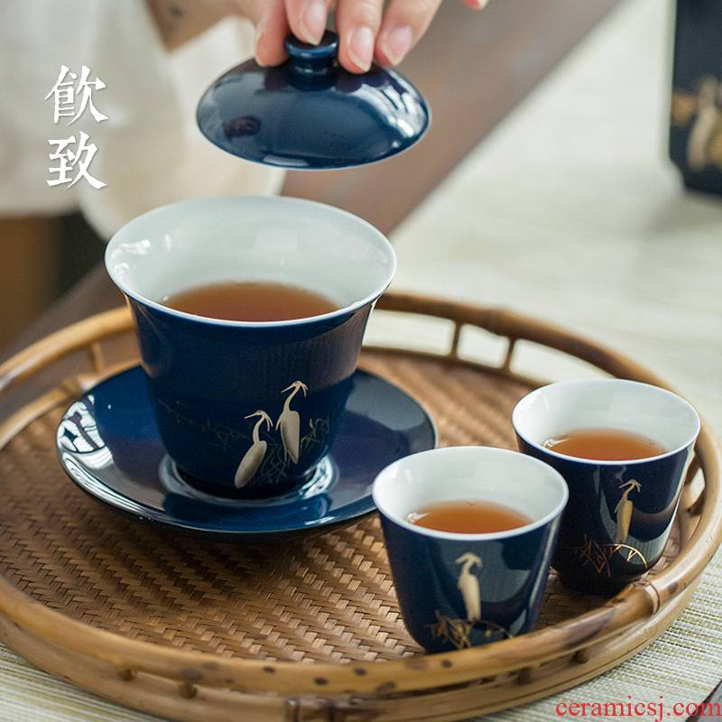 Three only Three fort tureen tea cup is not a single bowl of tea bowl prevent hot large kung fu Japanese ceramic tea set