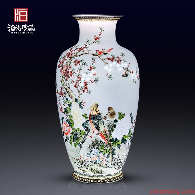 Jingdezhen ceramics hand carved decoration new Chinese modern bedroom living room decoration vase collection furnishing articles