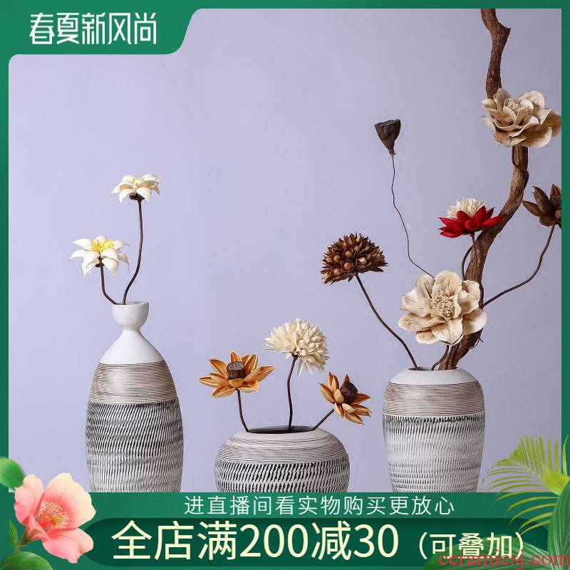 Jingdezhen ceramic vases, flower, flower implement hydroponic three - piece crafts move furnishing articles furnishing articles of adornment of the sitting room