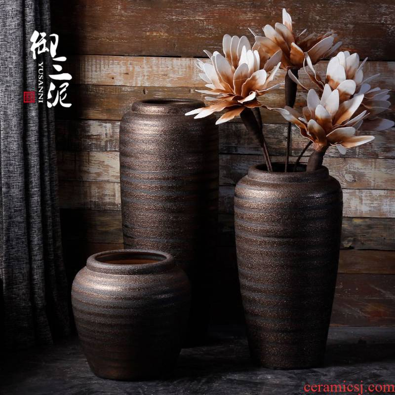 Jingdezhen sitting room of large vases, ceramic pottery flower arranging furnishing articles American new Chinese style is contracted and I adornment