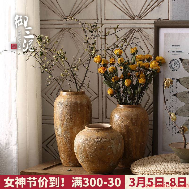 I and contracted Japanese small and pure and fresh the flower vase manual coarse pottery pot furnishing articles flower earthenware flowerpot restoring ancient ways