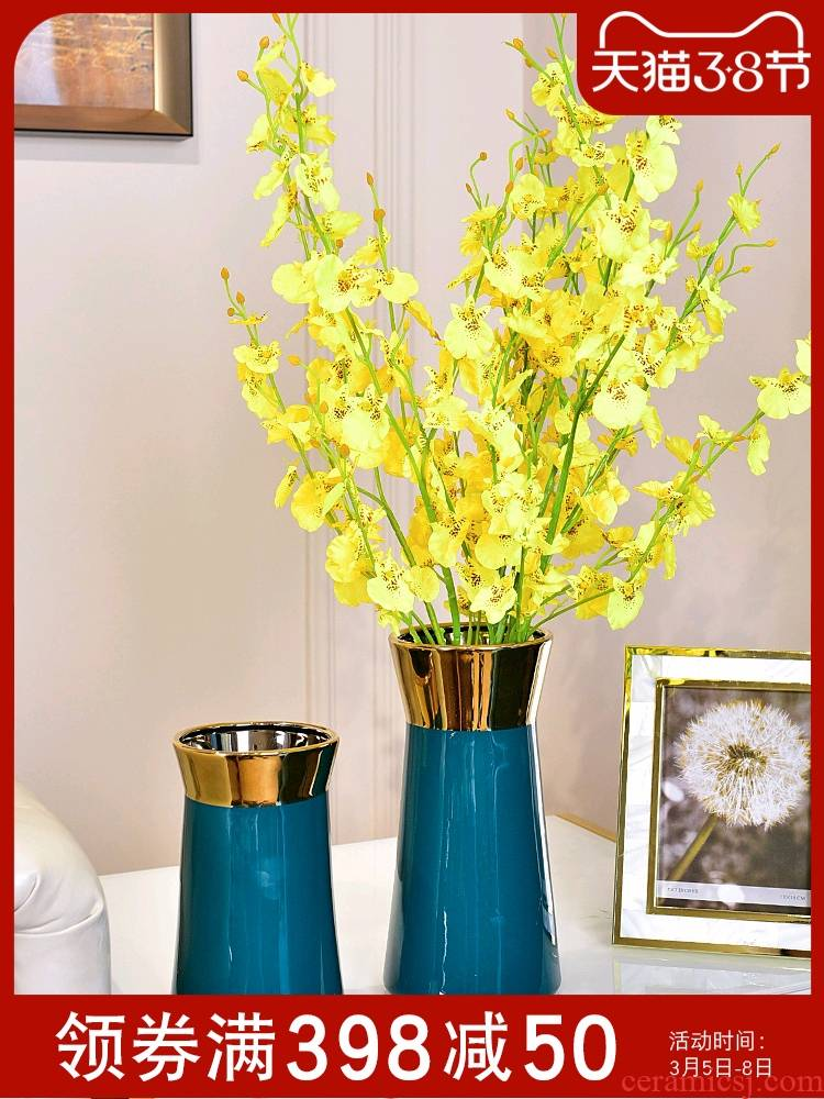 Modern light key-2 luxury ceramic flower bottle hydroponic Jane the sitting room TV ark, simulation vase vase decoration small place
