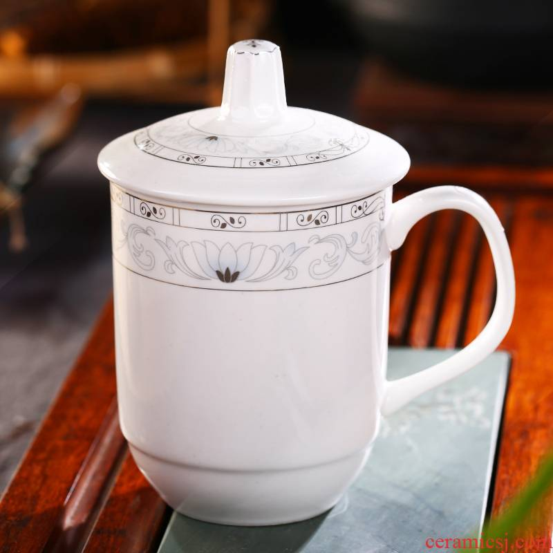 Jingdezhen ceramic cups with cover cup China custom office hotel conference room ultimately responds tea cup