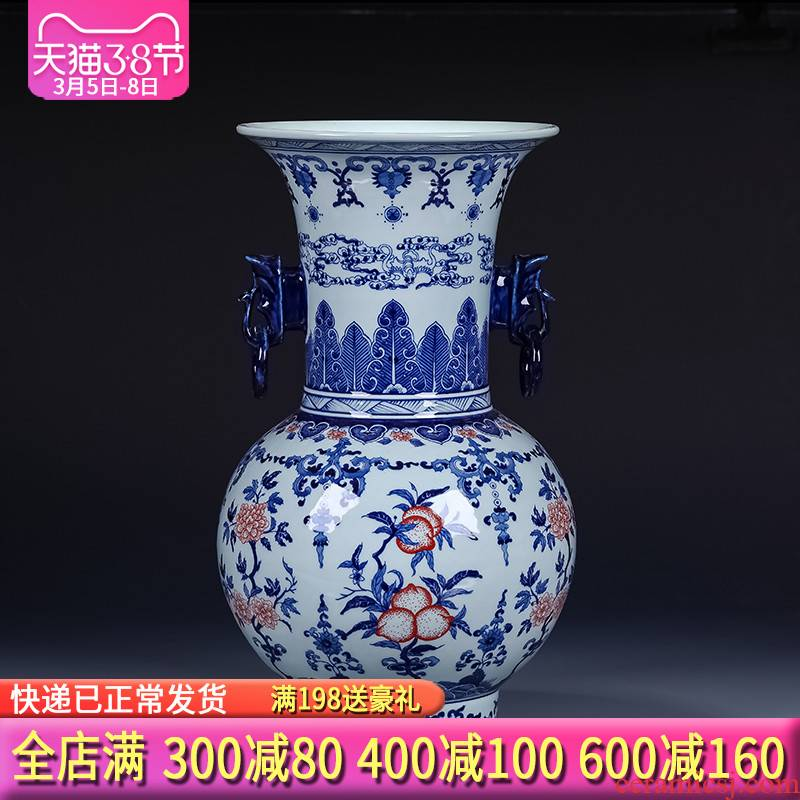 Jingdezhen ceramics archaize ears of large blue and white porcelain vase sitting room adornment of new Chinese style porch place