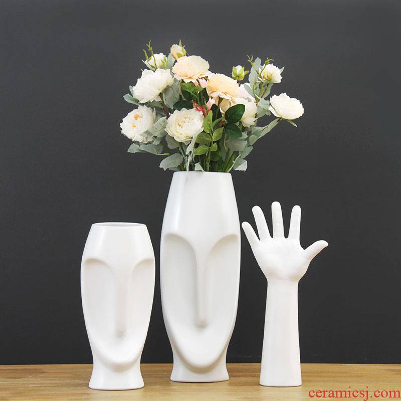 European white porcelain face vase I sitting room creative flower arranging, home furnishing articles face flower implement