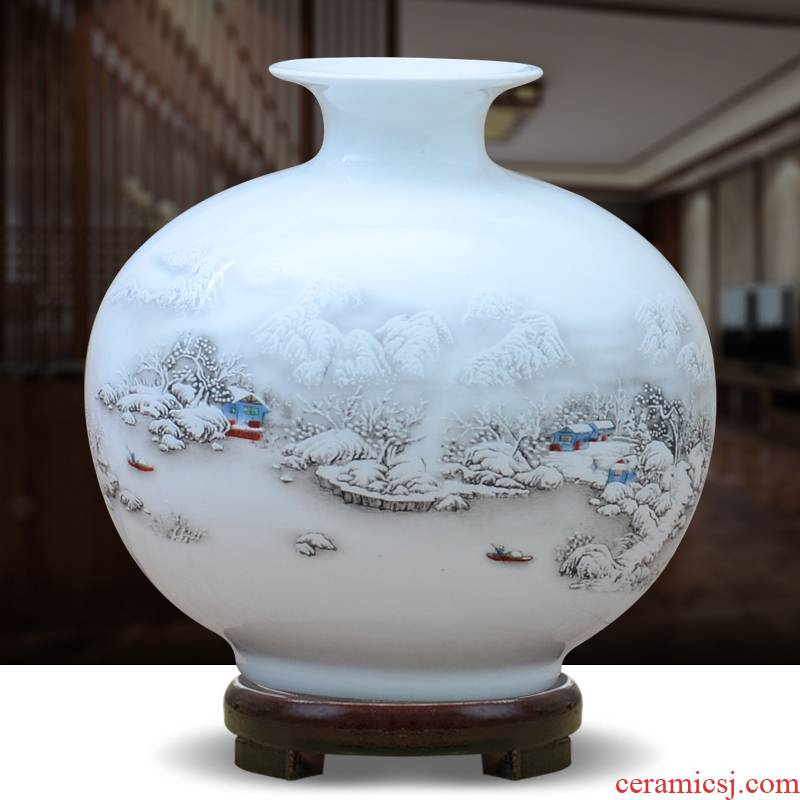 Jingdezhen ceramics vase furnishing articles sitting room flower arranging creative modern Chinese rich ancient frame pomegranate craft ornaments