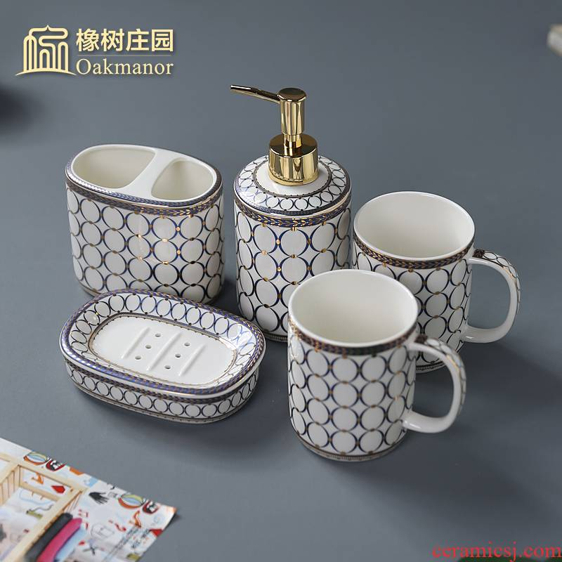 Ou for wash gargle household bathroom ceramic sanitary ware 4 mouthwash gargle suit American brushing cup suite