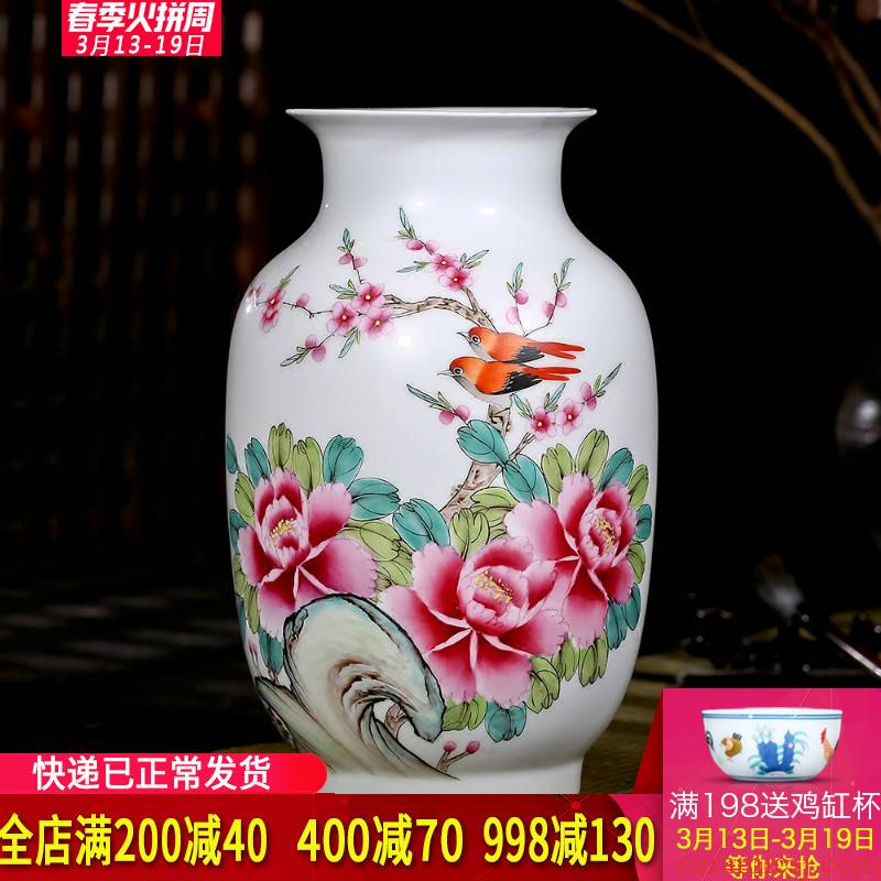 Jingdezhen ceramics celebrity Xia Guoan hand - made peony vases, modern Chinese style living room decoration as furnishing articles