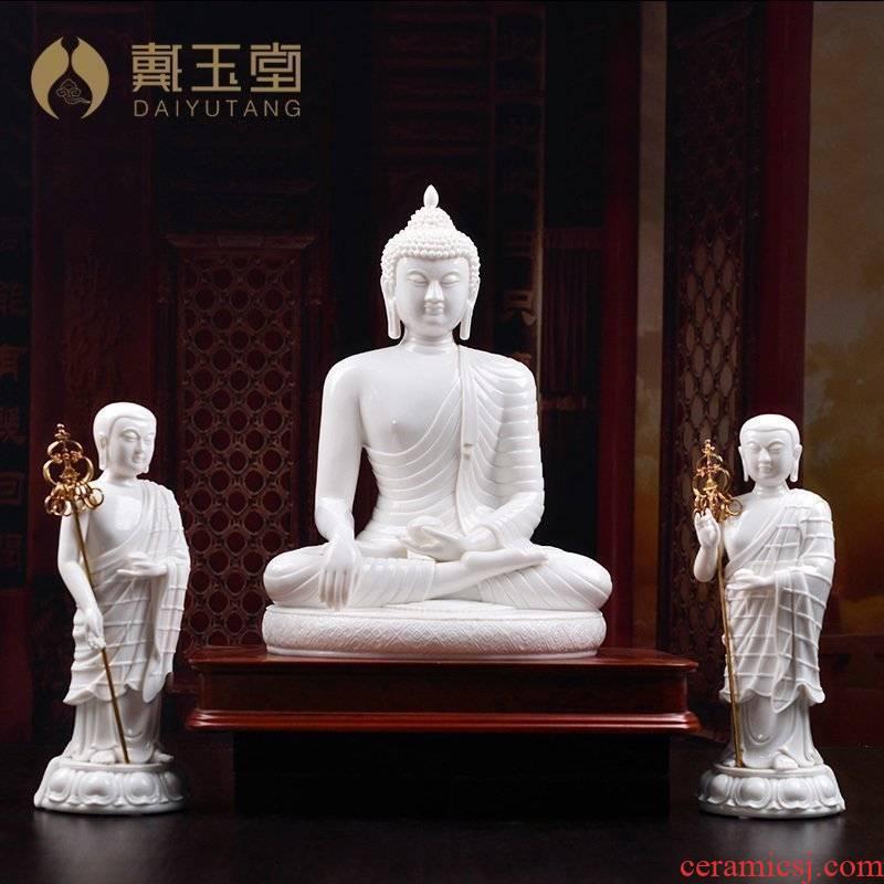 Yutang dai dehua porcelain its art collection place three Buddha shakyamuni Buddha D01-074
