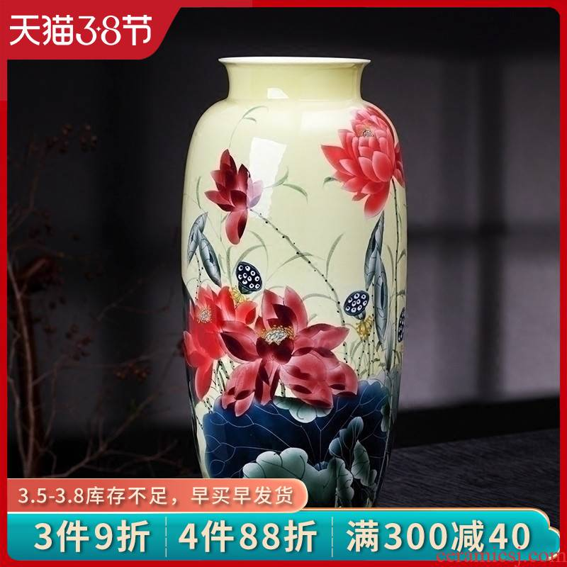 Jingdezhen ceramics vase hand - made yellow lotus pond was fragrant flower arrangement, the sitting room of Chinese style household decorative furnishing articles