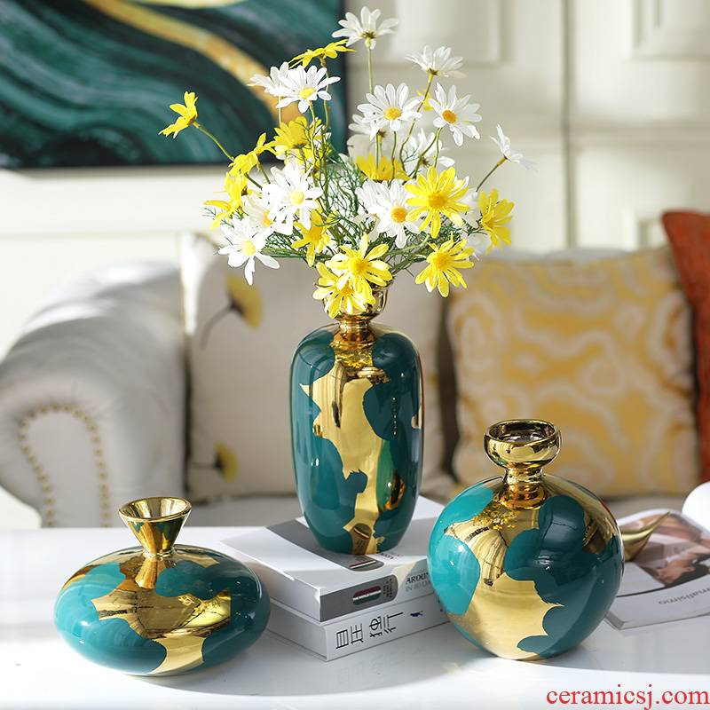 American ceramic vase furnishing articles sitting room gold - plated flower arranging creative floral outraged suit Europe type TV ark, the table decorations