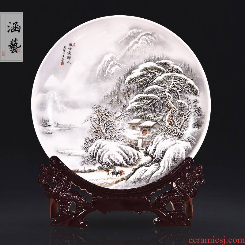 Jingdezhen ceramics in snow night landscape decoration hanging dish sat dish home porch handicraft furnishing articles