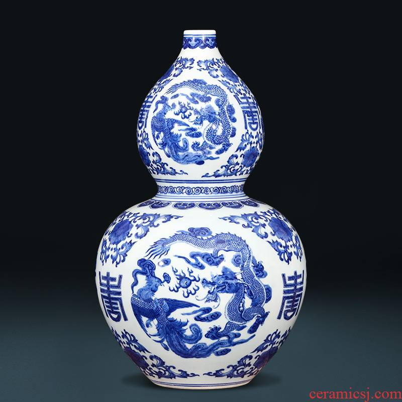 Jingdezhen blue and white in extremely good fortune gourd bottle hand - made ceramic vase archaize sitting room feng shui plutus porcelain furnishing articles