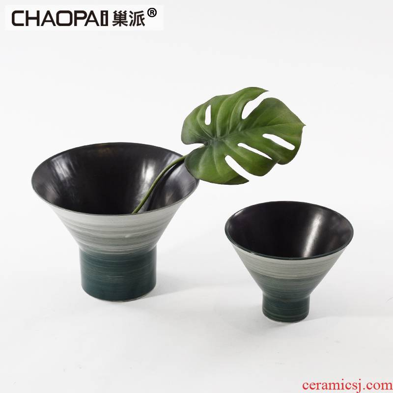 Modern new Chinese style to use creative gradient ceramic vase household interior furnishing articles mesa flower arranging flowers, arts and crafts