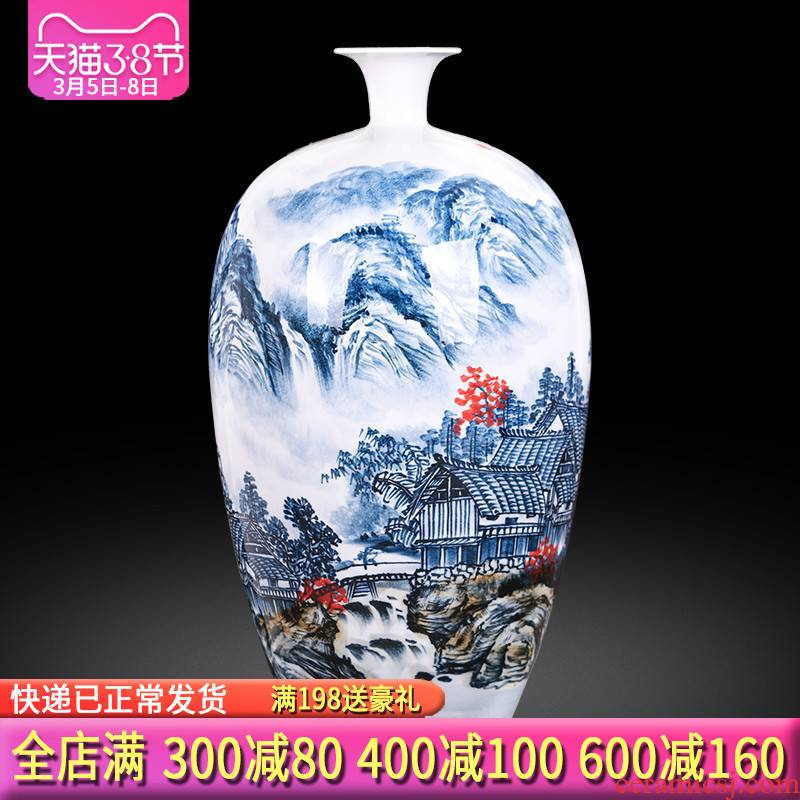 Jingdezhen ceramics landscape painting creative hand - made of blue and white porcelain vases, new Chinese style porch office furnishing articles