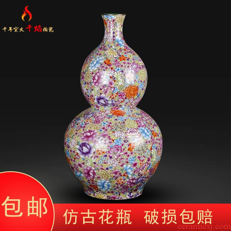 Jingdezhen ceramic antique qianlong pastel flower vases, Chinese style living room decorations rich ancient frame furnishing articles gourd bottle
