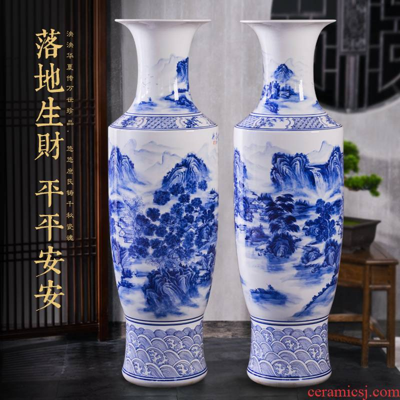 Jingdezhen blue and white landscape of large ceramic hand - made vase decoration to the hotel opening party furnishing articles customized gifts