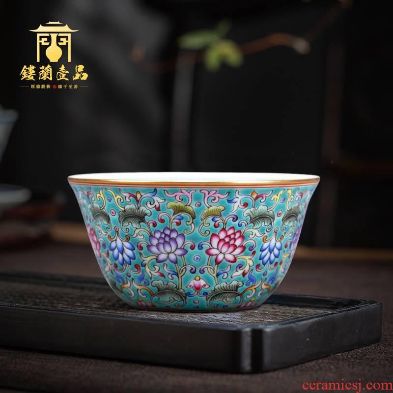 Jingdezhen ceramics all hand - made porcelain teacup inside the master cup single cup sample tea cup kung fu tea set porcelain cups