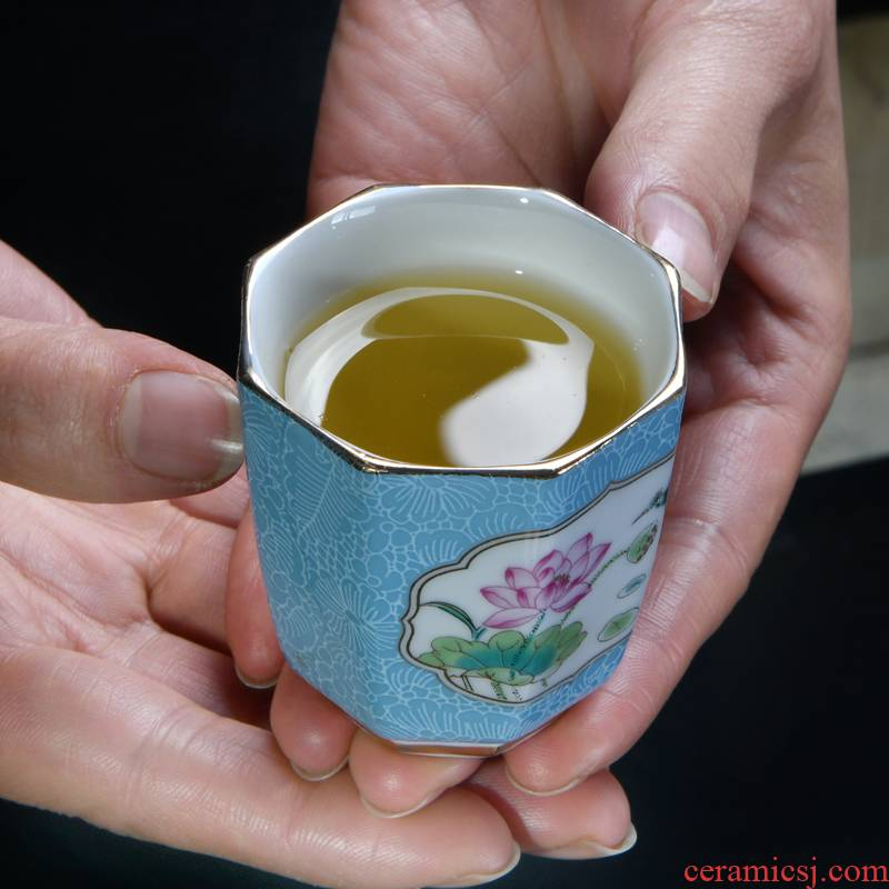 Colored enamel porcelain master kung fu tea tea cups, tea cups porcelain cups, octagon cup single cup by hand