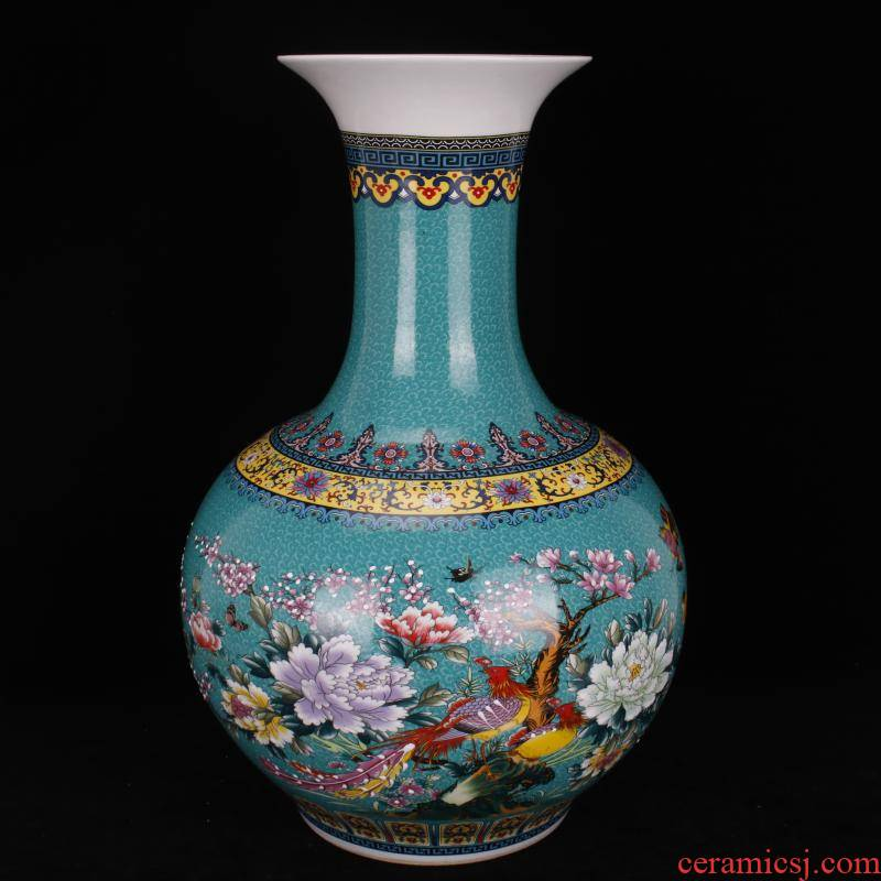 Jingdezhen imitation qianlong antique colored enamel painting of flowers and the ground is great reward a bottle of Chinese style classical Ming and the qing dynasty vase furnishing articles