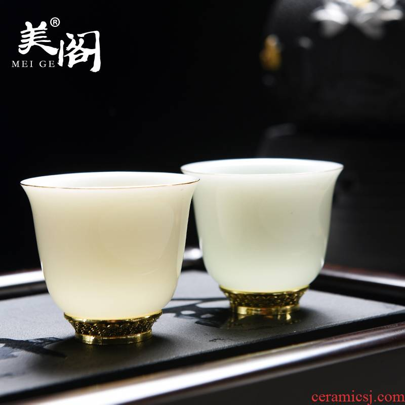 Beauty cabinet dehua suet jade white porcelain tea cups household beeswax yellow, emerald green sample tea cup master cup of tea