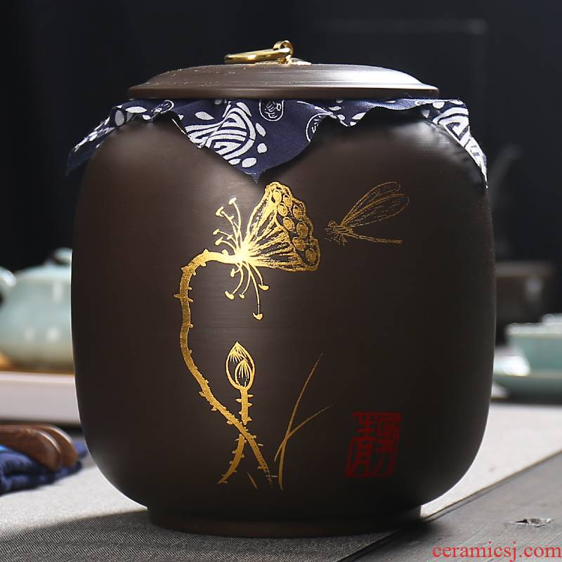 1 catty 2 jins of violet arenaceous caddy fixings ceramic seal pot large moisture storage POTS puer tea box of household storage tank